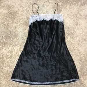 Victoria's Secret Black satin slip with lace trim
